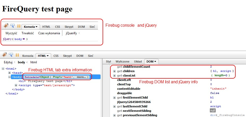 FireQuery results in Firebug