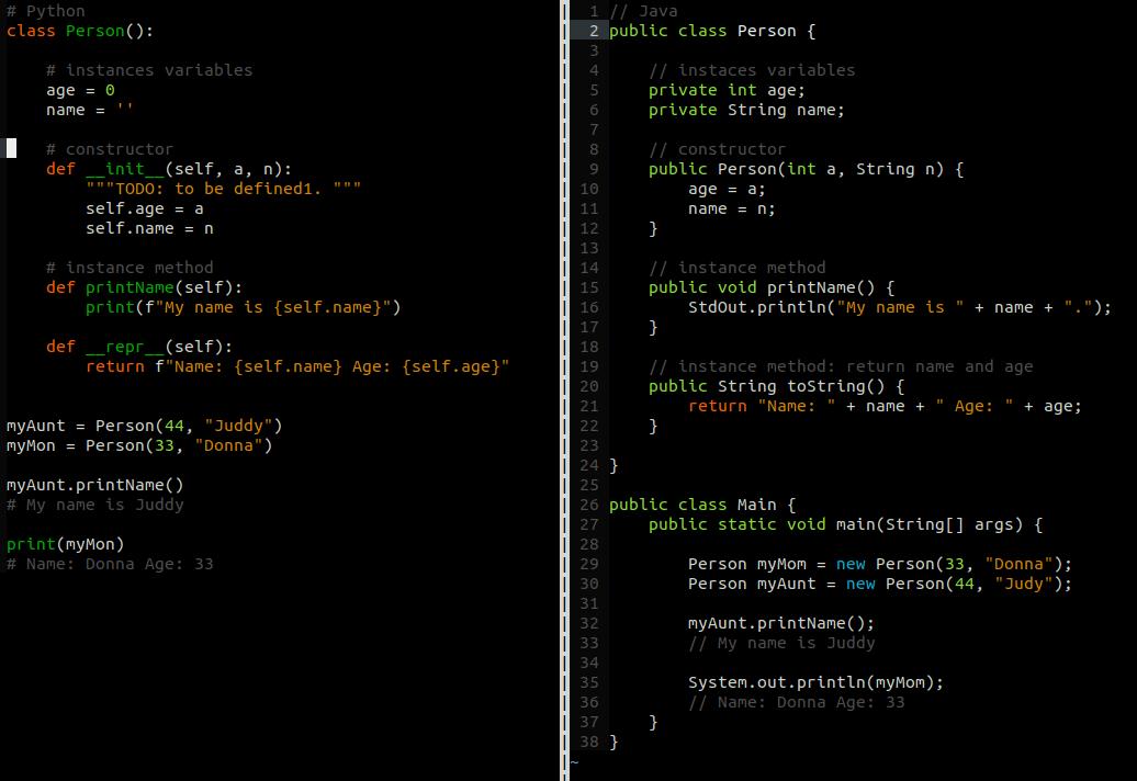 Python Java Comparison